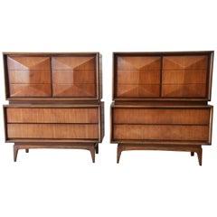 Mid-Century Modern Walnut Diamond Front Highboy Dresser by United