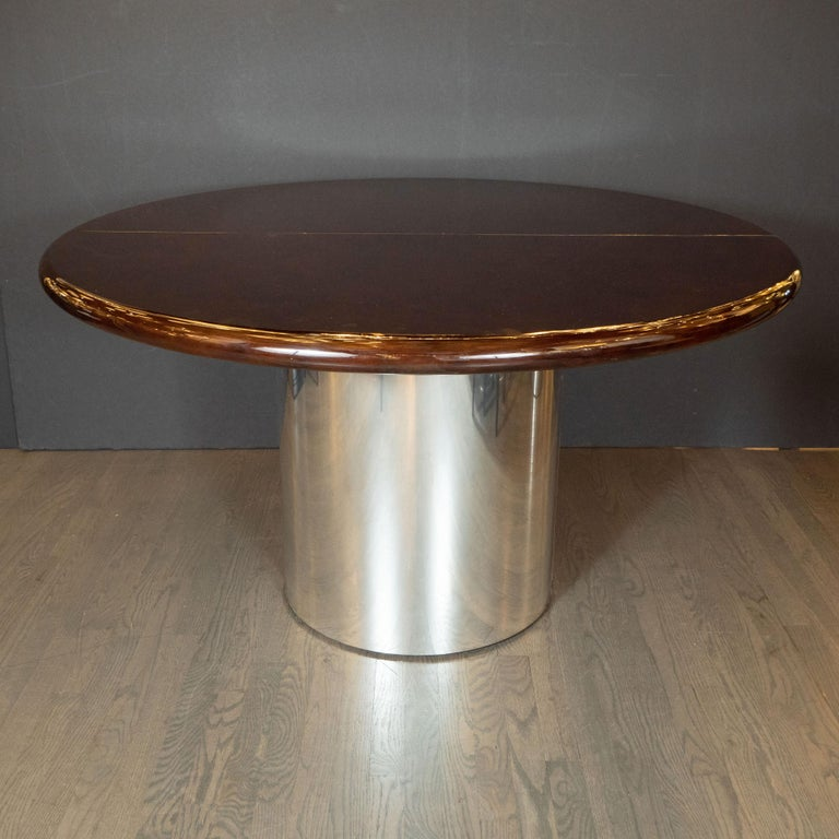 Mid-Century Modern Walnut Dining Table with Demilune Chrome Feet by Directional  For Sale 5