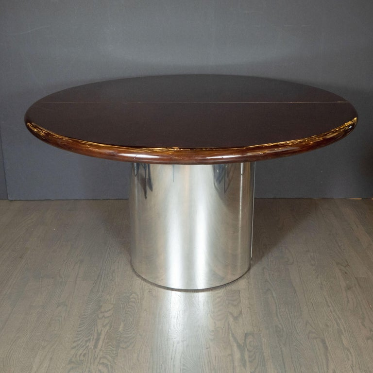American Mid-Century Modern Walnut Dining Table with Demilune Chrome Feet by Directional  For Sale