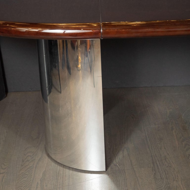 Mid-Century Modern Walnut Dining Table with Demilune Chrome Feet by Directional  In Excellent Condition For Sale In New York, NY