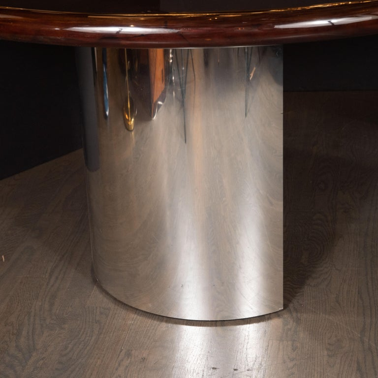 Late 20th Century Mid-Century Modern Walnut Dining Table with Demilune Chrome Feet by Directional  For Sale