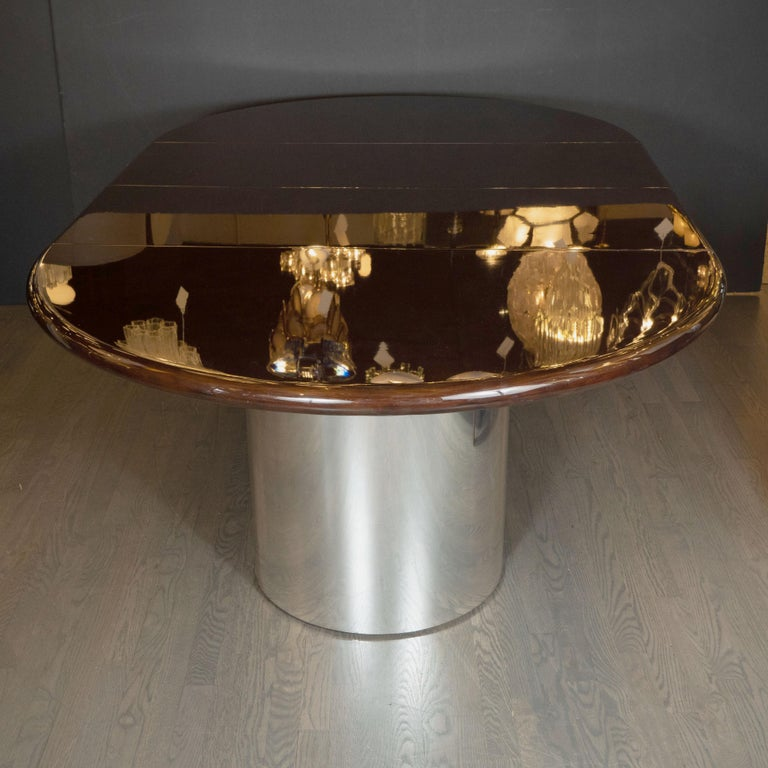 Mid-Century Modern Walnut Dining Table with Demilune Chrome Feet by Directional  For Sale 2