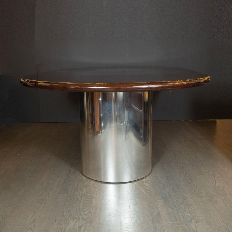 Mid-Century Modern Walnut Dining Table with Demilune Chrome Feet by Directional  For Sale 3