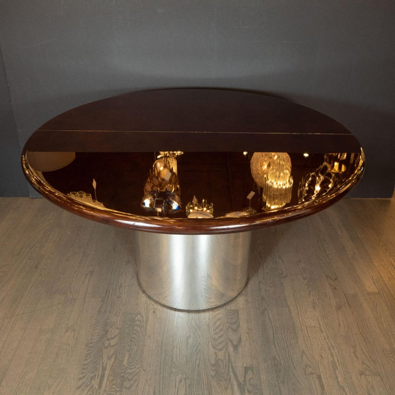 Mid-Century Modern Walnut Dining Table with Demilune Chrome Feet by Directional  For Sale 4