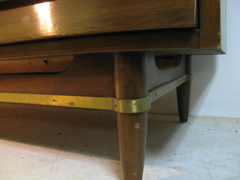 Brass Mid-Century Modern Walnut Dresser American of Martinsville by Merton Gershun For Sale