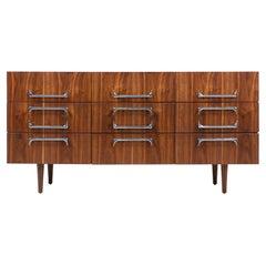 Mid-Century Modern Walnut Dresser with Sculpted Chrome Pulls