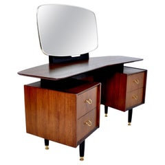 Mid-Century Modern Walnut Dressing Table vanity Kofod Larsen G Plan, 1960s
