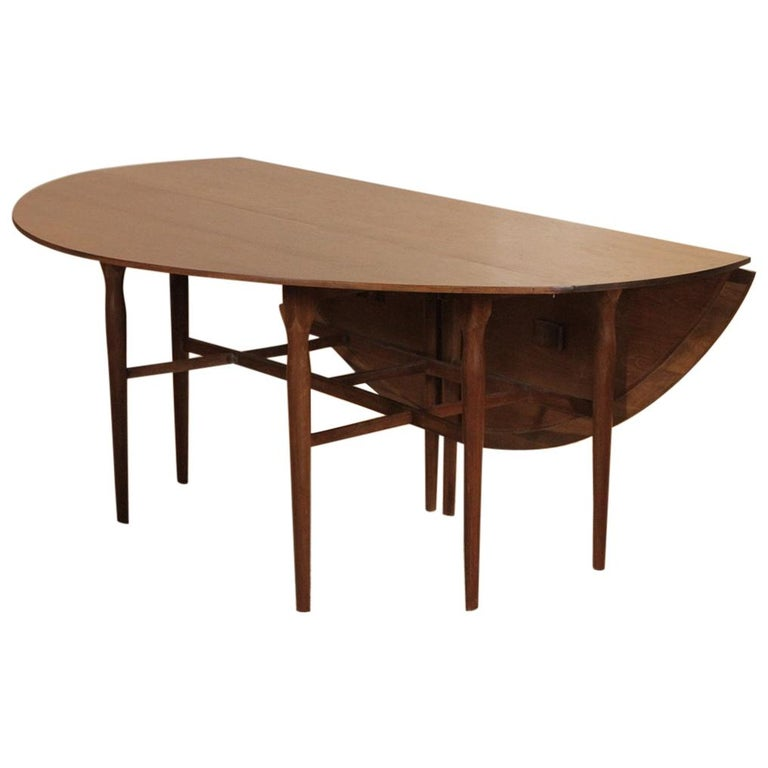 Mid Century Modern Walnut Drop Leaf Dining Console Table For Sale At