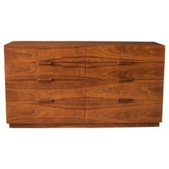 Mid-Century Modern Walnut Eight Drawer Dresser by Ramseur