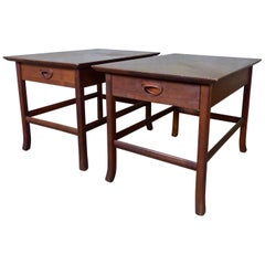 Mid-Century Modern Walnut End Tables with Unique Surfaces and Drawer Pulls
