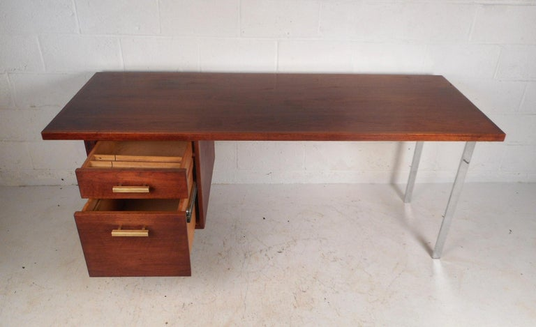 Brass Mid-Century Modern Walnut Executive Desk For Sale