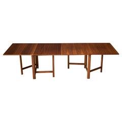 Mid-Century Modern Walnut Extending Drop Leaf Dining Table