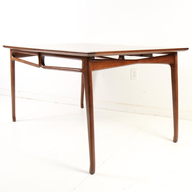 Mid-Century Modern Walnut Extension Dining Table For Sale 10