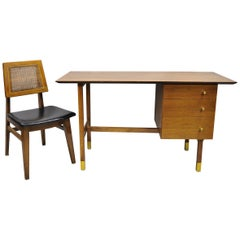 Mid-Century Modern Walnut Floating Top Writing Desk & Cane Hibriten Desk Chair