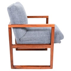 Mid-Century Modern Walnut Framed Armchair in Grey Milo Baughman