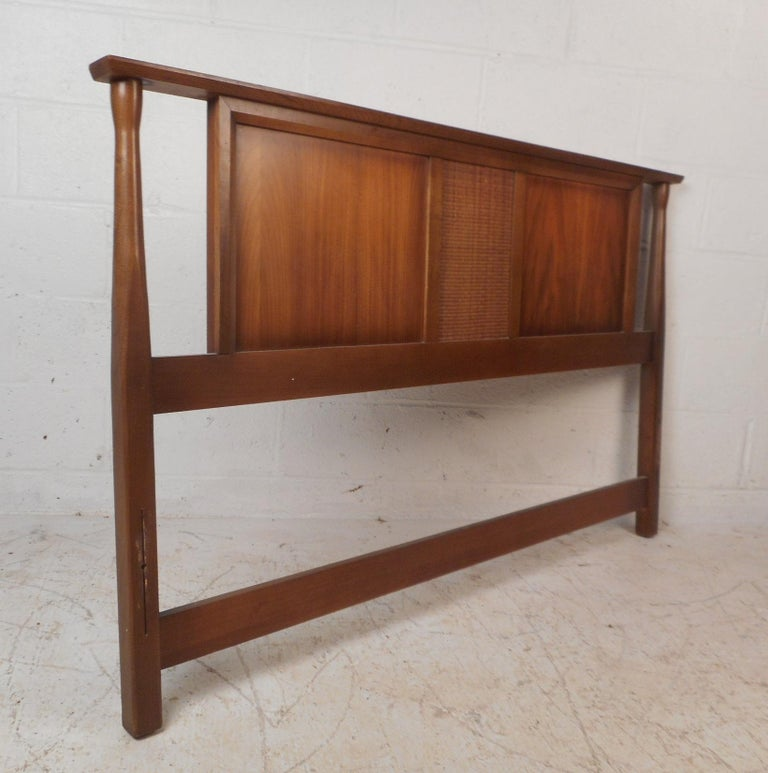 Late 20th Century Mid-Century Modern Walnut Headboard and Footboard For Sale