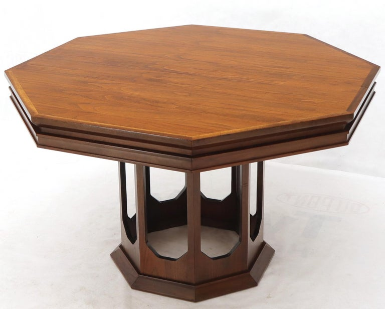 American Mid-Century Modern Walnut Hexagon Dining Table For Sale