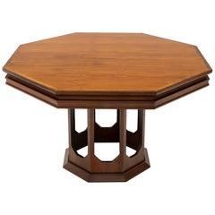 Mid-Century Modern Walnut Hexagon Dining Table
