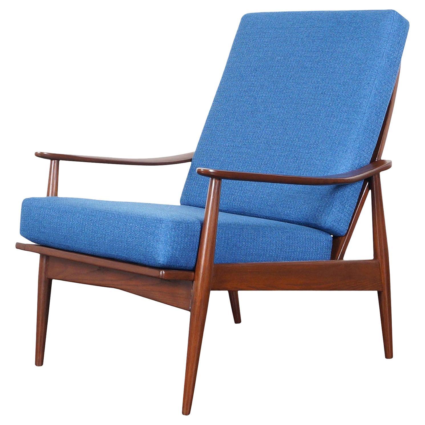 Mid-Century Modern Walnut High Back Lounge Chair