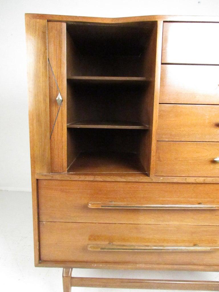Mid-20th Century Mid-Century Modern Walnut Highboy Dresser For Sale