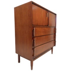 Mid-Century Modern Walnut Highboy Dresser