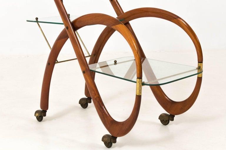 Mid-20th Century Mid-Century Modern Walnut Italian Bar Cart by Gaetano Pizzi, 1950s For Sale
