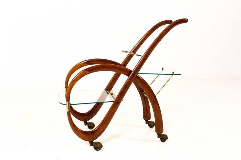 Mid-Century Modern Walnut Italian Bar Cart by Gaetano Pizzi, 1950s For Sale 2