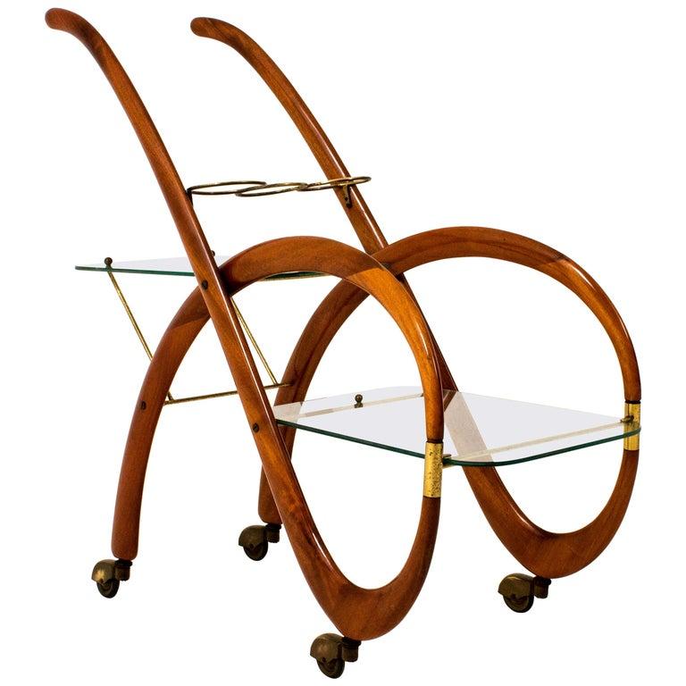 Mid-Century Modern Walnut Italian Bar Cart by Gaetano Pizzi, 1950s For Sale