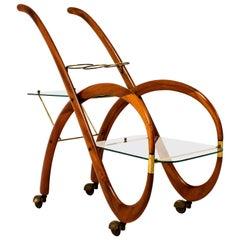 Mid-Century Modern Walnut Italian Bar Cart by Gaetano Pizzi, 1950s
