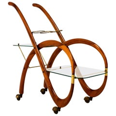 Mid-Century Modern Walnut Italian Bar Cart by Gaetano Pizzi, 1950s