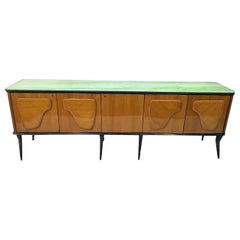 Mid-Century Modern Walnut Italian Sideboard, Green Marble Effect Glass Top