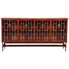Mid-Century Modern Walnut Leaded Glass Bookcase by White Furniture, circa 1960s