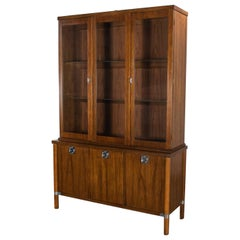 Mid-Century Modern Walnut Lighted China Cabinet with Chrome Accents