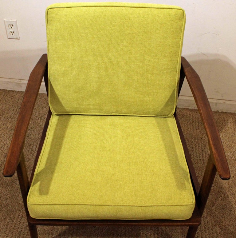 Upholstery Mid-Century Modern Walnut Lounge Armchair For Sale
