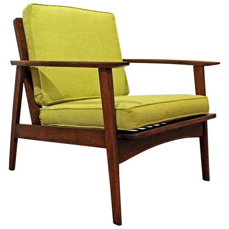 Mid-Century Modern Walnut Lounge Armchair For Sale