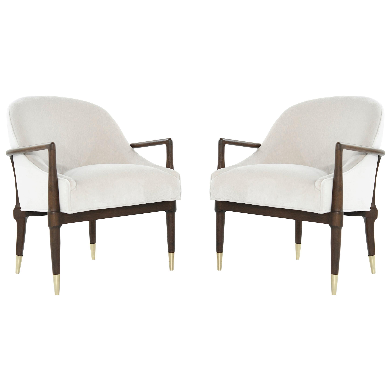Mid-Century Modern Walnut Lounge Chairs, circa 1950s