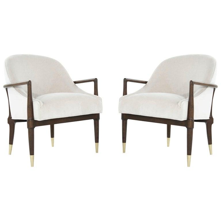 Mid-Century Modern Walnut Lounge Chairs, circa 1950s For Sale