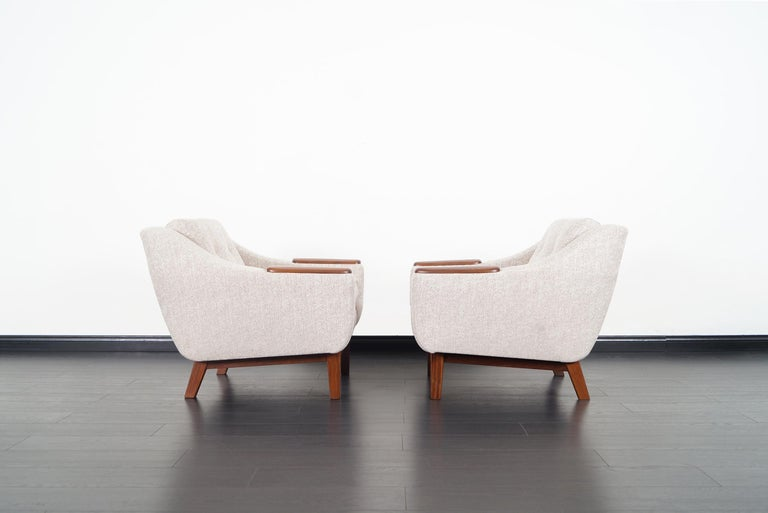 Danish Mid-Century Modern Walnut Lounge Chairs For Sale