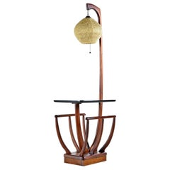 Mid-Century Modern Walnut Magazine Rack Acrylic Spaghetti Globe Floor Lamp
