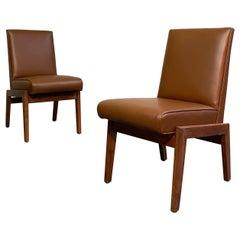 Mid-Century Modern Walnut Naugahyde Chairs Attrib Jens Risom