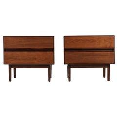 Mid-Century Modern Walnut Night Stands by Stanley Furniture