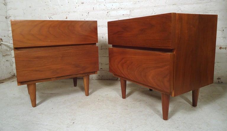 Mid-20th Century Mid-Century Modern Walnut Nightstands For Sale