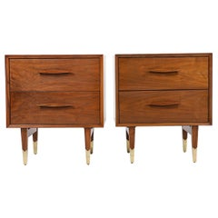 Mid-Century Modern Walnut Nightstands with Brass Sabots