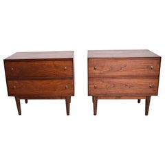 Mid-Century Modern Walnut Nightstands by Stanley