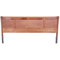 Mid-Century Modern Walnut, Rattan, and Brass King Size Headboard, circa 1960s