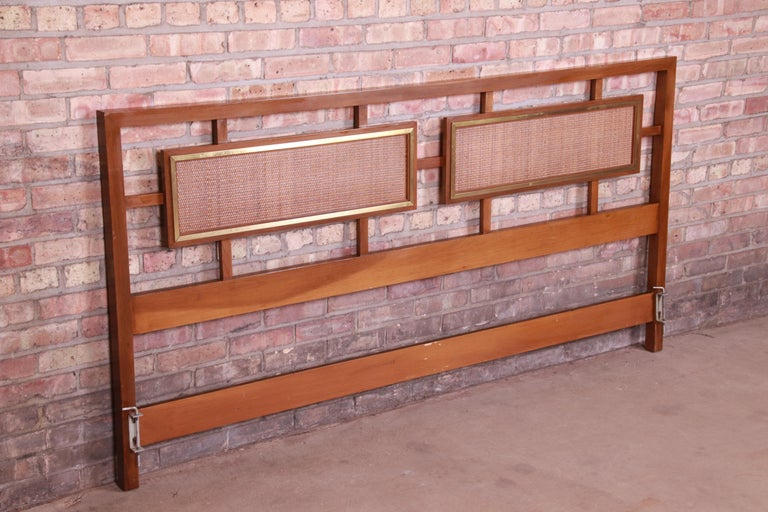 Mid-Century Modern Walnut, Rattan, and Brass King Size Headboard In Good Condition For Sale In South Bend, IN