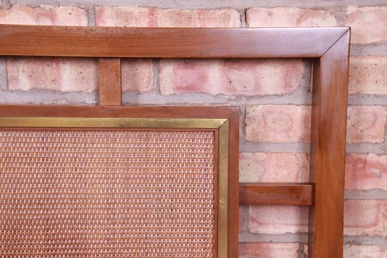 Mid-Century Modern Walnut, Rattan, and Brass King Size Headboard For Sale 1