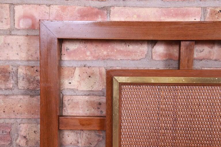 Mid-Century Modern Walnut, Rattan, and Brass King Size Headboard For Sale 2