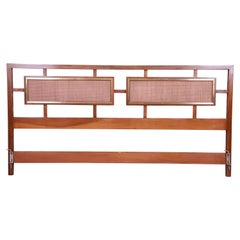 Mid-Century Modern Walnut, Rattan, and Brass King Size Headboard