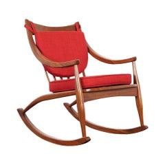 Mid-Century Modern Walnut Rocking Chair